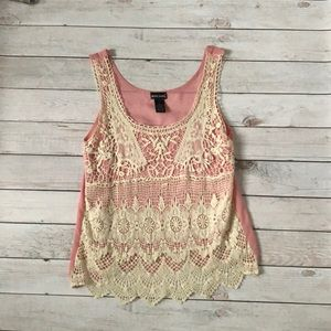 Wet Seal Pink and Creme Lace Tank Top